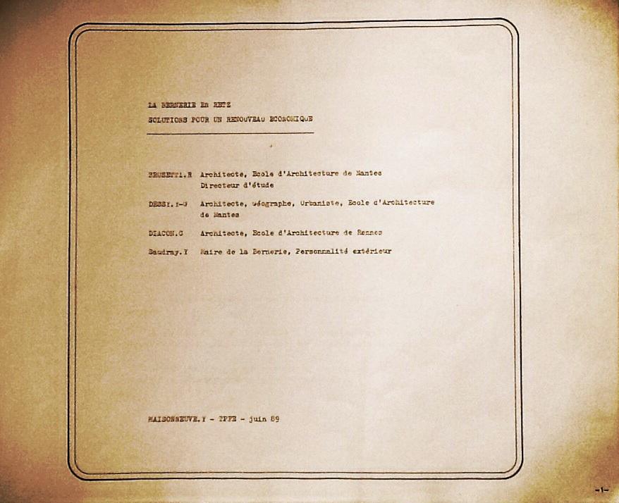 """Diplôme juin 1989 : """"La Bernerie en Retz -  Solutions pour un renouveau économique"""""""
